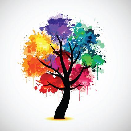 Paint splat abstract tree rainbow photo fine art print poster
