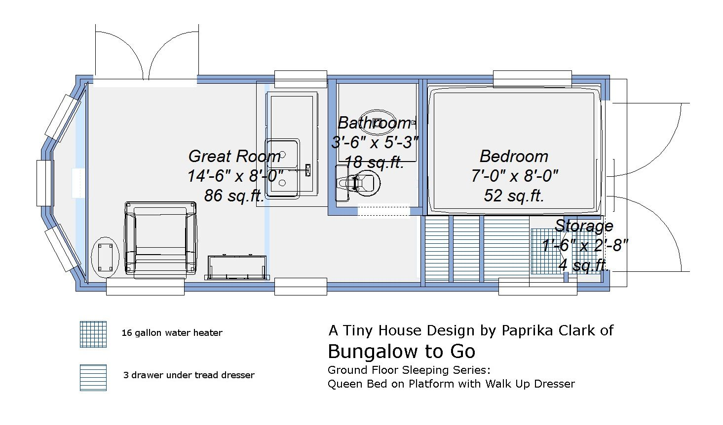 Free Tiny House Trailer Plans Ground Floor Sleeping Plans Queen Bed On Platform With Walk Up Tiny House Trailer Tiny House Trailer Plans Tiny House Floor Plans