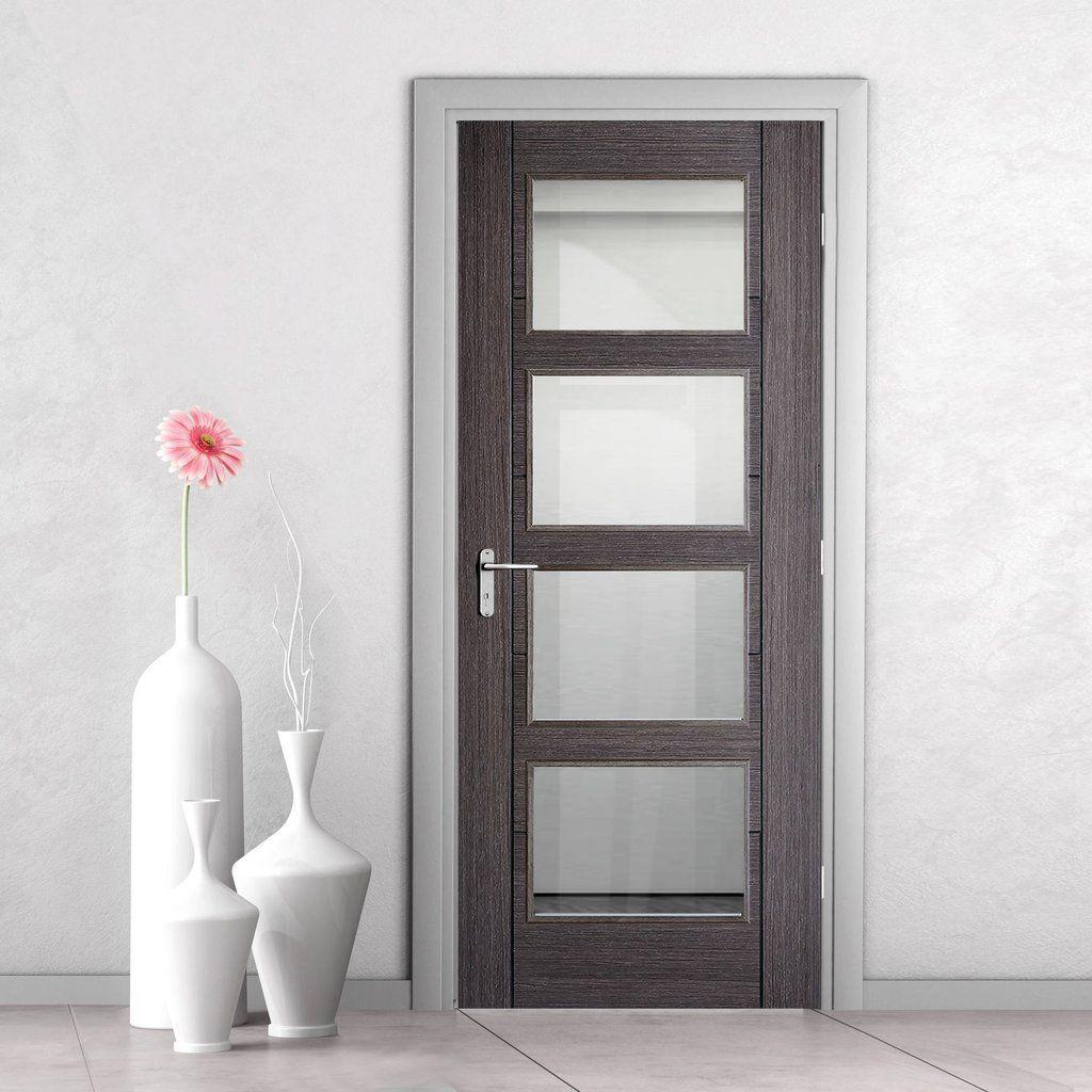 Vancouver Ash Grey 4 Pane Internal Door Clear Glass Prefinished Grey Internal Doors Internal Doors Grey Interior Doors