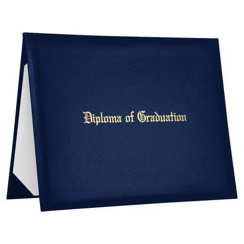 Navy Blue Imprinted Diploma Of Graduation Cover  Want To Keep