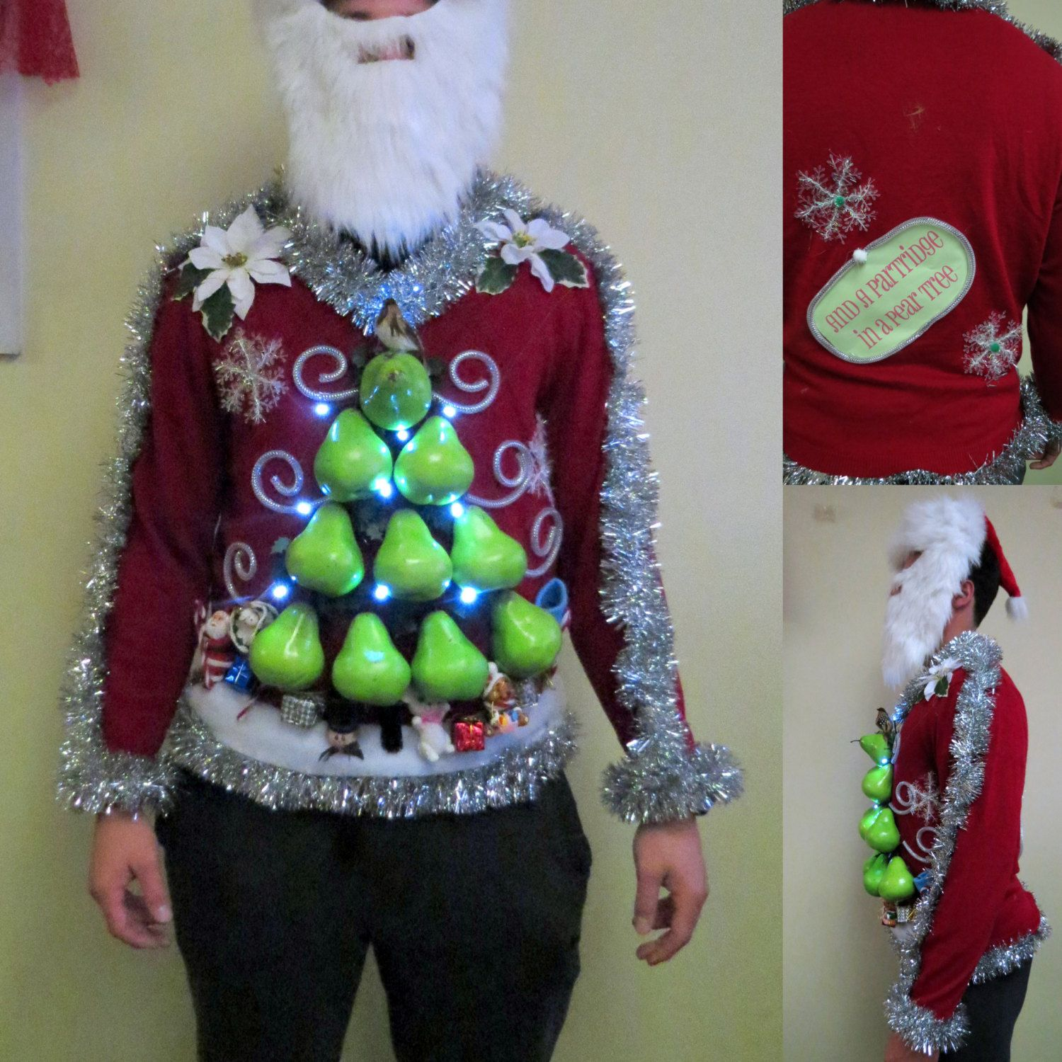 """Christmas Tree Sweater Womens: Made To Order 3D Big Pears Hilarious Partridge In A """"Pear"""