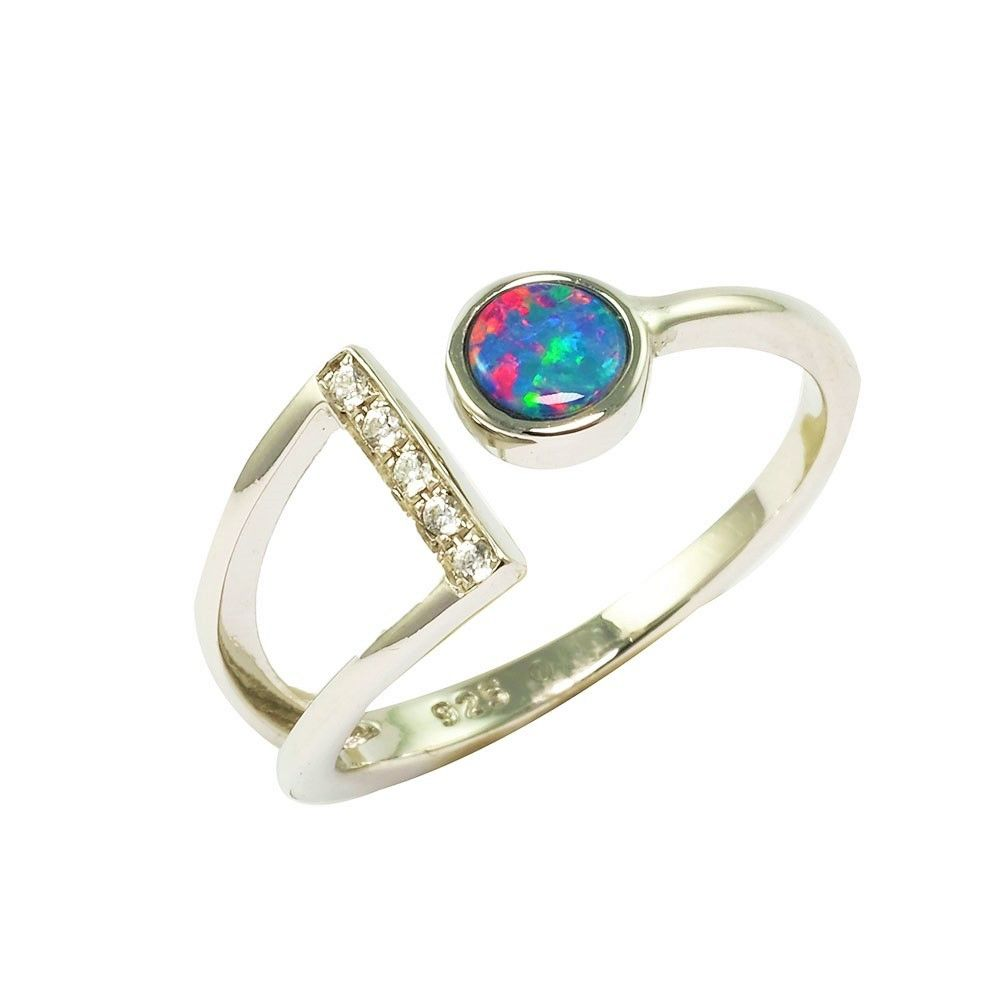 This Eye Catching And Sophisticated Sterling Silver Australian Opal Ring Features Deep Pink Blue And Purple Fl In 2020 Australian Opal Ring Opal Rings Australian Opal
