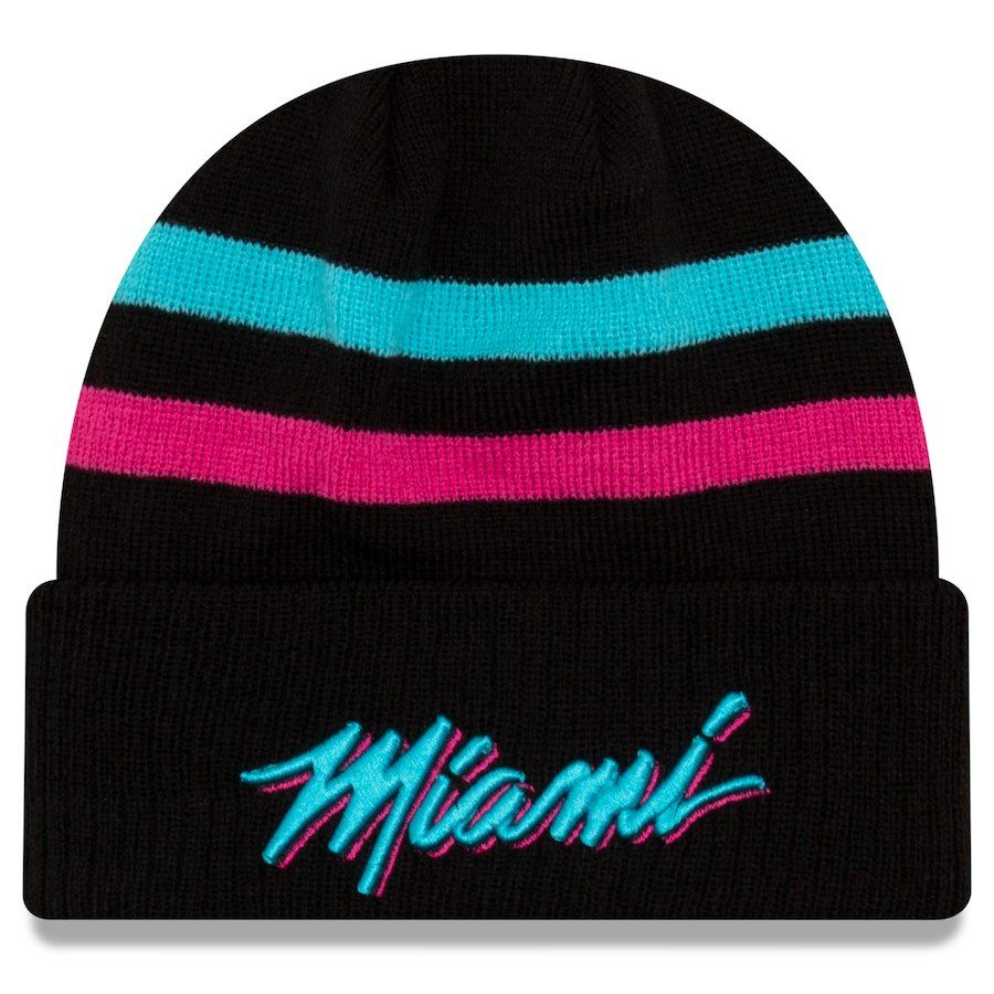 low priced 3ddf8 7380f Men s Miami Heat New Era Black 2018 City Edition Cuffed Knit Hat, Your  Price   29.99