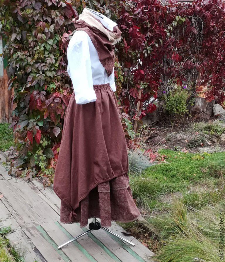 Купить №179 Юбка-бохо льняная длинная - юбка бохо, юбка длинная, юбка льняная