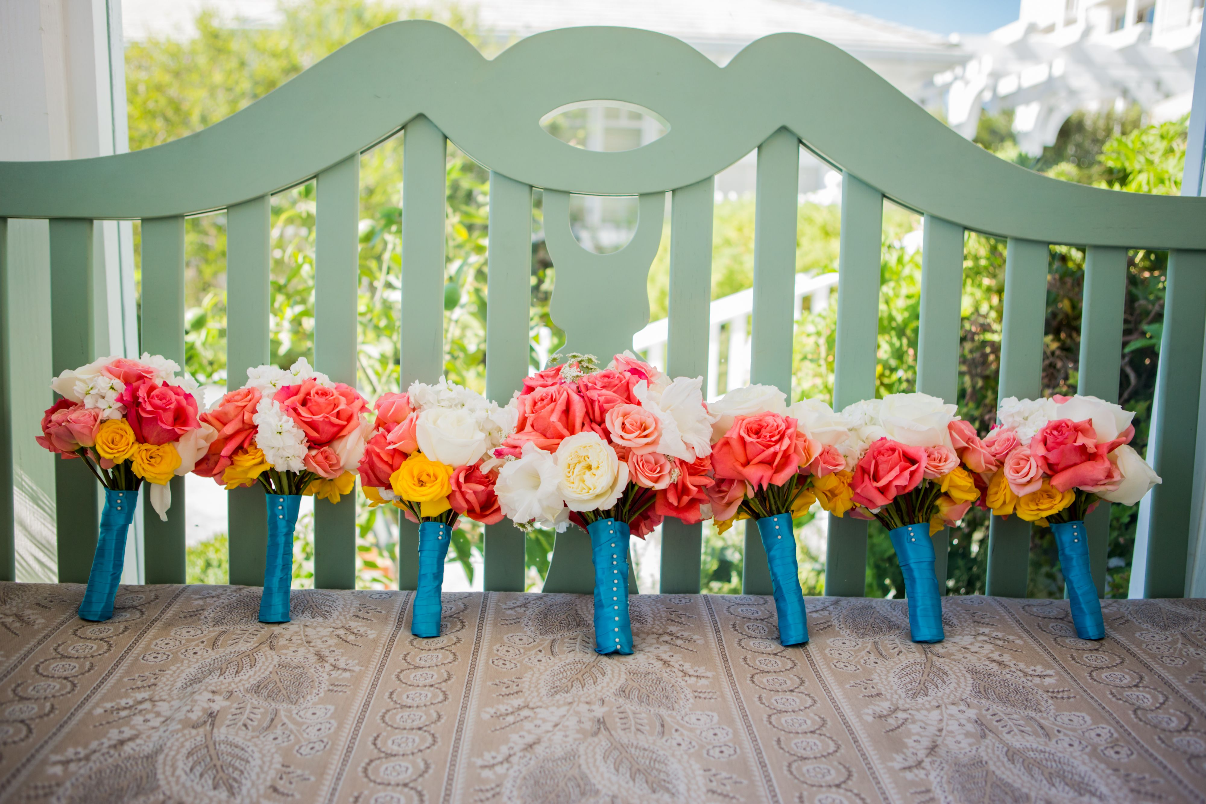 Teal And Coral Wedding Bouquets