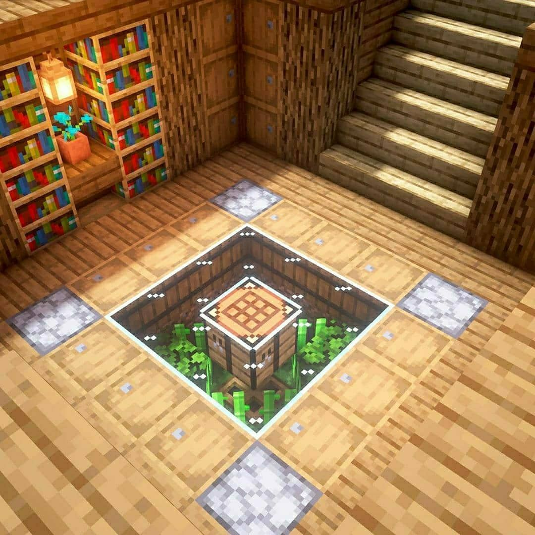 "Minecraft builds and designs on Instagram: ""Minecraft: Survival Area . A simple area with storage and smelting. Also includes some nature beneath a glass floor. . Follow…"""