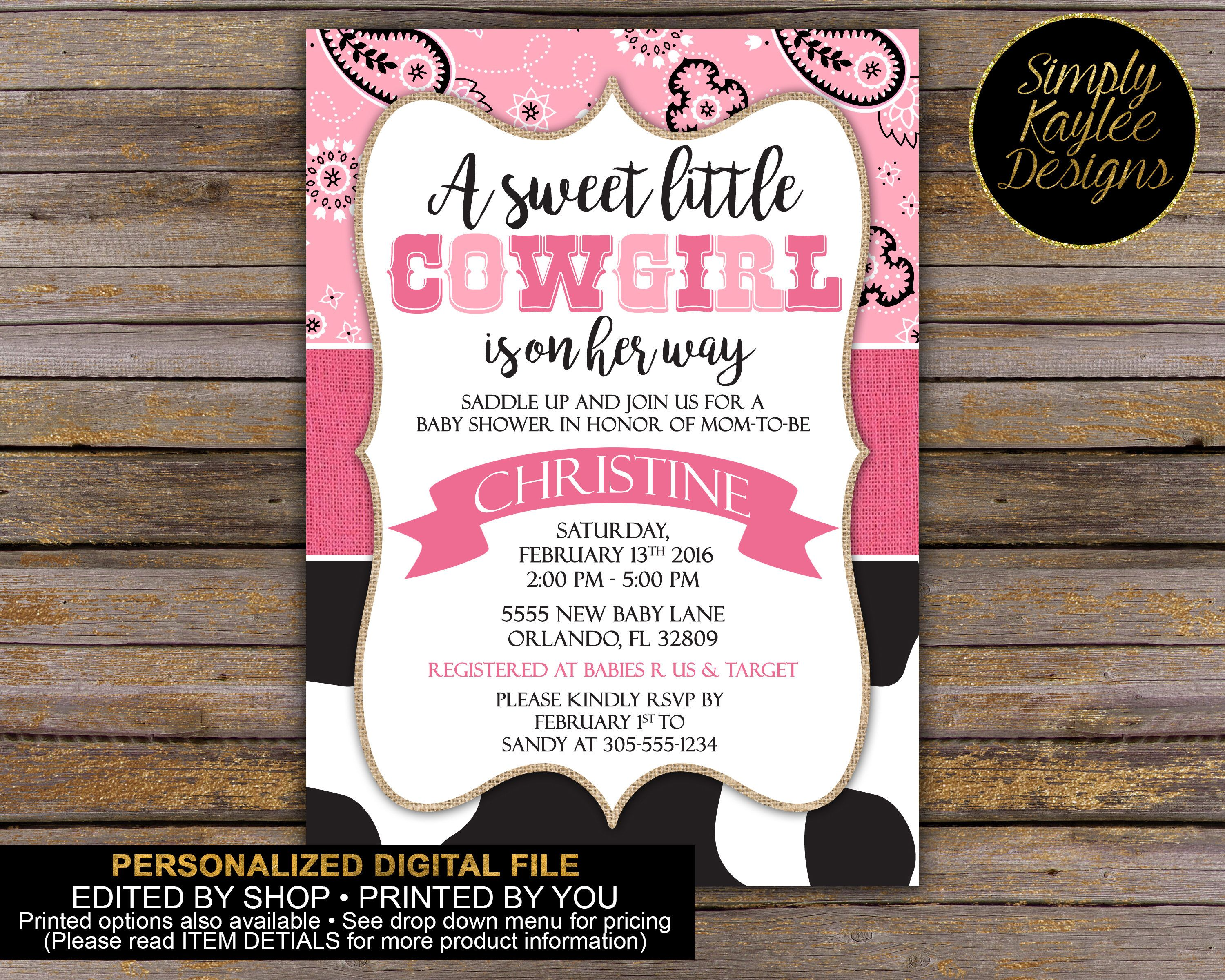 Little Cowgirl Baby Shower Invitation by SimplyKayleeDesigns on Etsy ...