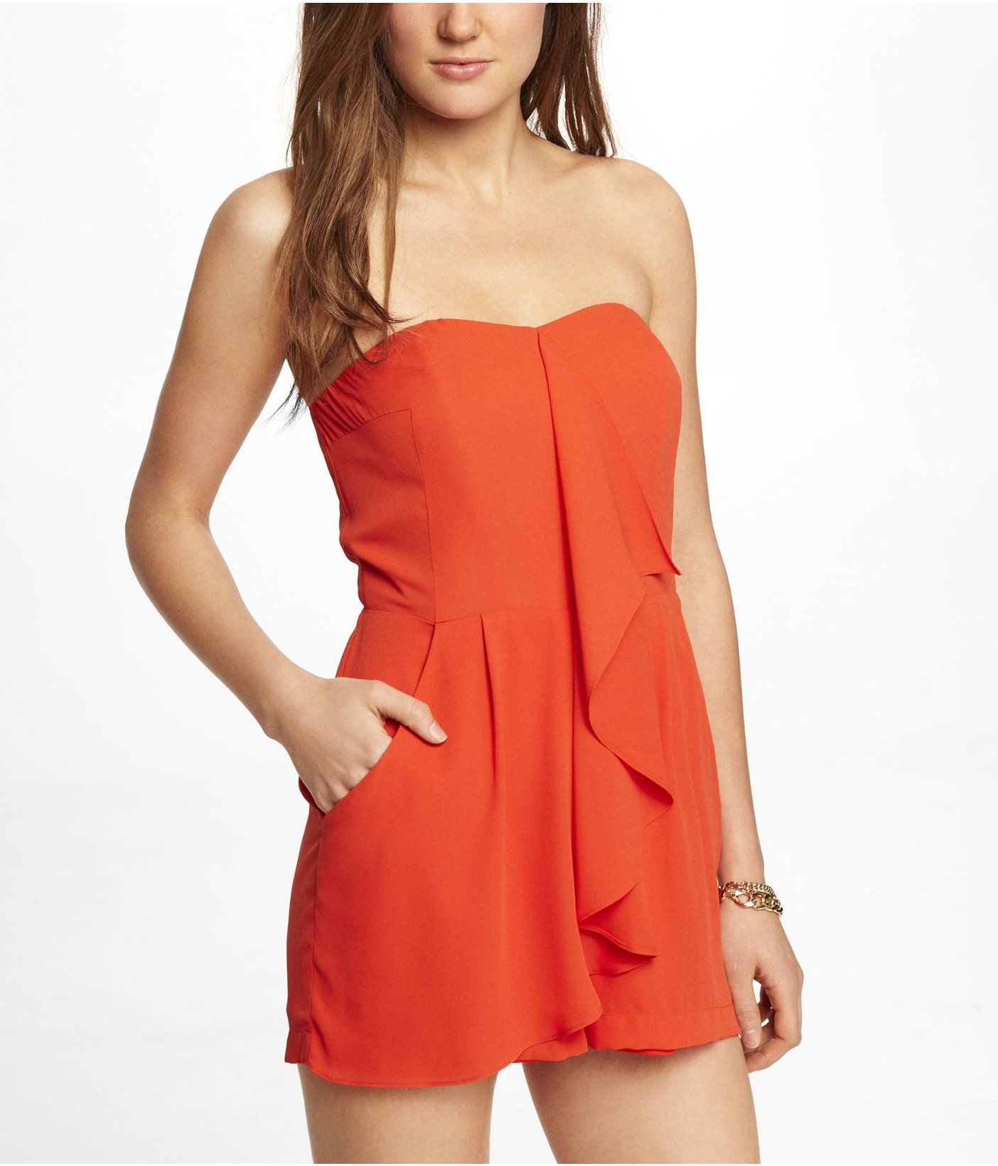 bc599878b5e6 Express strapless ruffle front romper (like the style but would prefer a  different color)