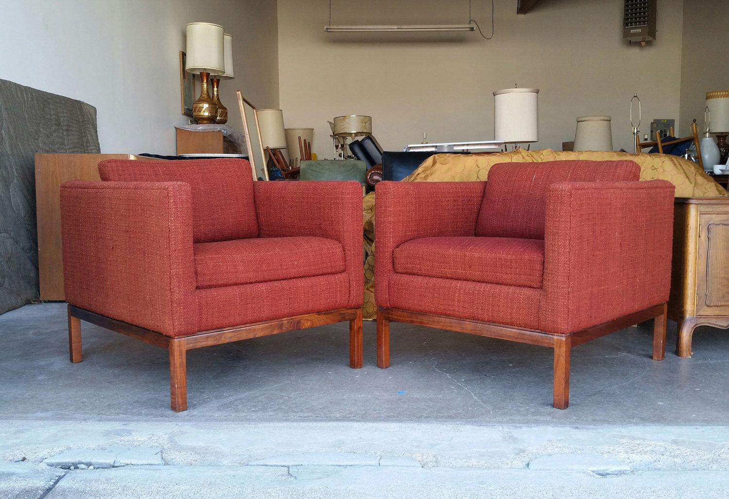 Pair Vintage 1960u0027s Club Chairs Mid Century Modern Florence Knoll Style  Original Upholstery Oiled Walnut Base