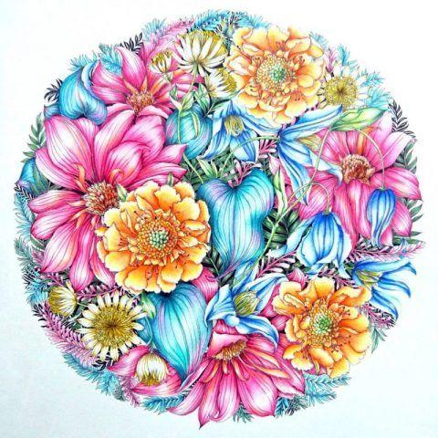 簡単 綿棒アートの描き方 繊細な藤の花 ラベンダー たんぽぽ レイラ 大人のぬりえ 花 描き方