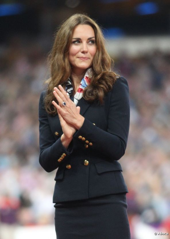 The Duchess of Cambridge, Kate Middleton took part in the medal ceremony to present the gold medal to Great Britain's Aled Davies at the Olympic Stadium, London, on 2 September 2012.