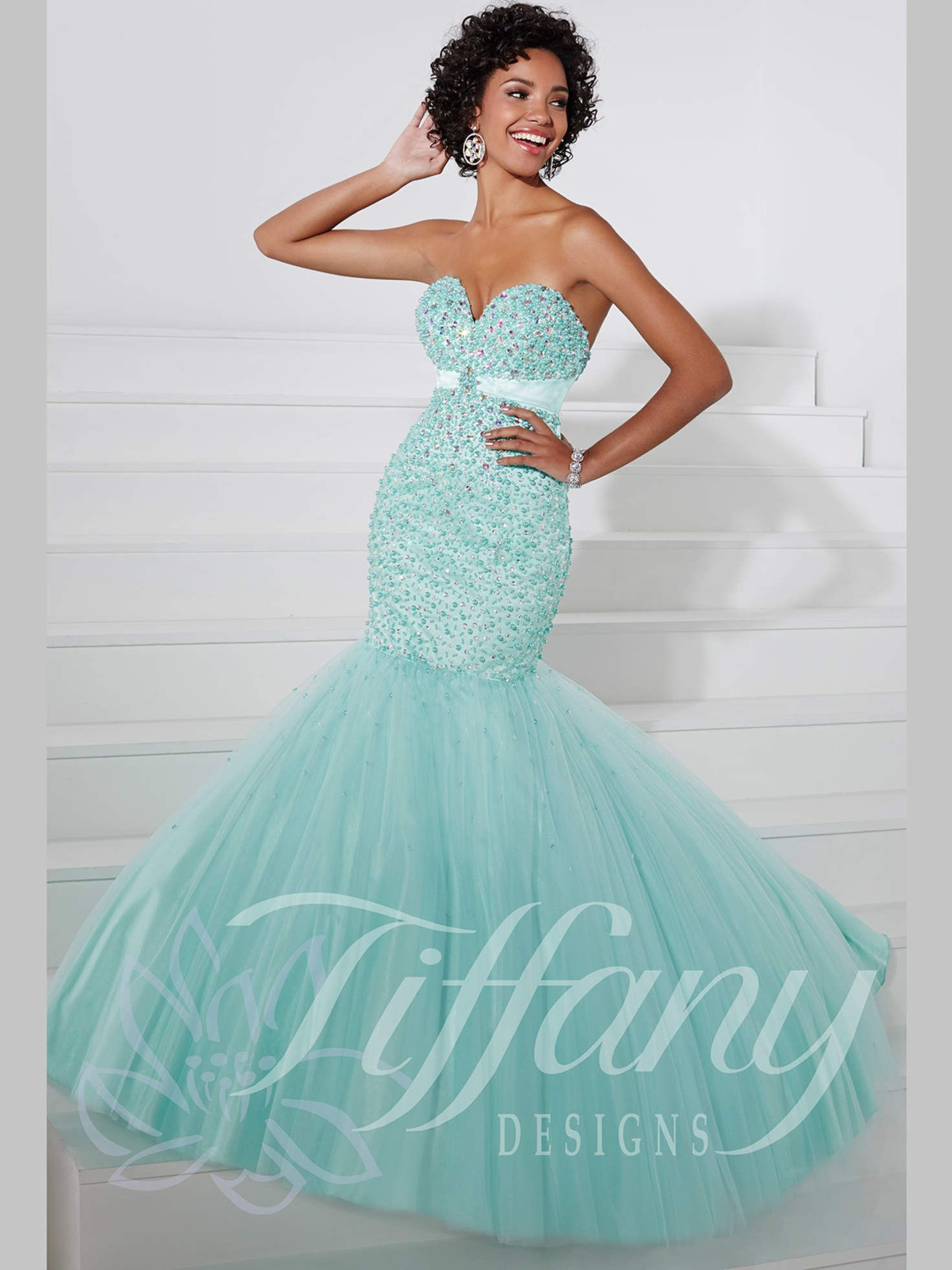 Sweetheart Beaded Top Mermaid Prom Dress Tiffany Designs 16086 ...
