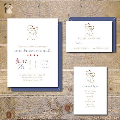 5 By 7 Inches Wedding Invitations Invites Suite Set Response Cards Information Cards Save The Dates Whimsical Stick Figures Wedding Party Invitations Amazon