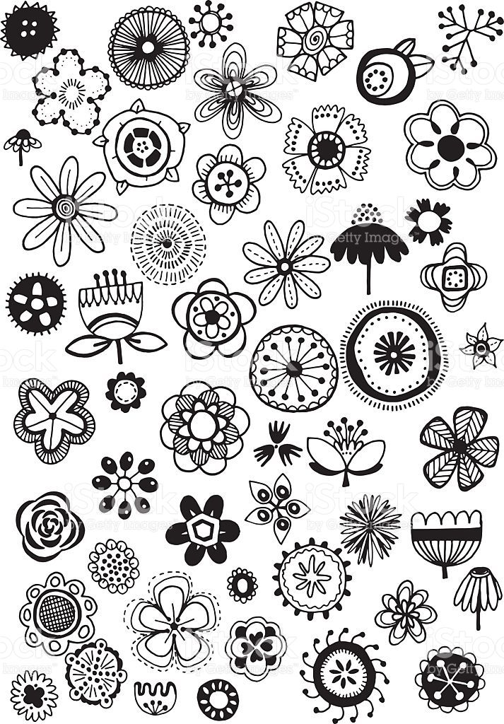 Vector doodle flowers - hand drawn floral elements, quirky and fun ...