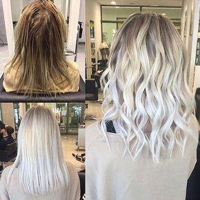 Icy Platinum Blonde Hair Color collage Platinum blonde