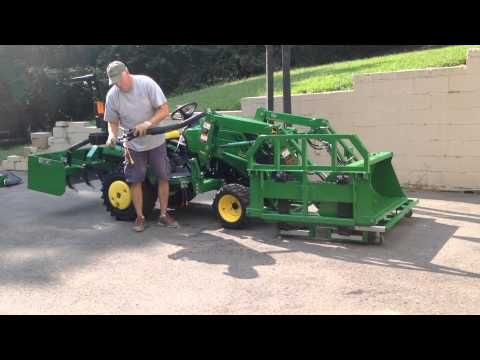 John Deere 1025R home made attachments and storage cart