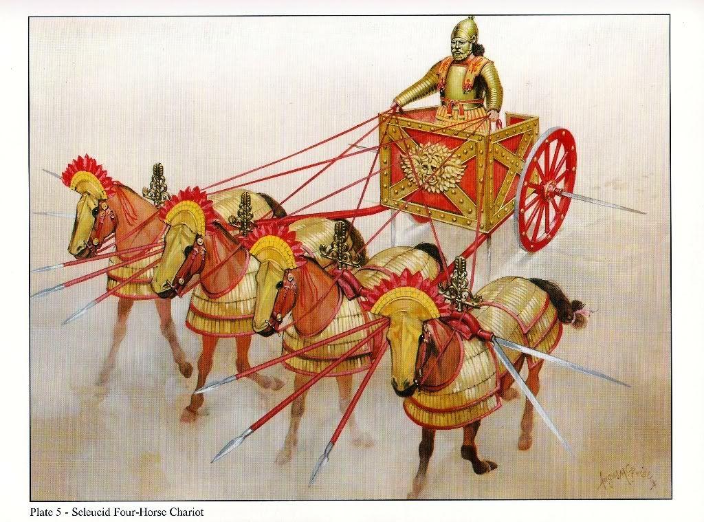 Carruagem de guerra selêucida equipada com foice (Por Angus McBride)