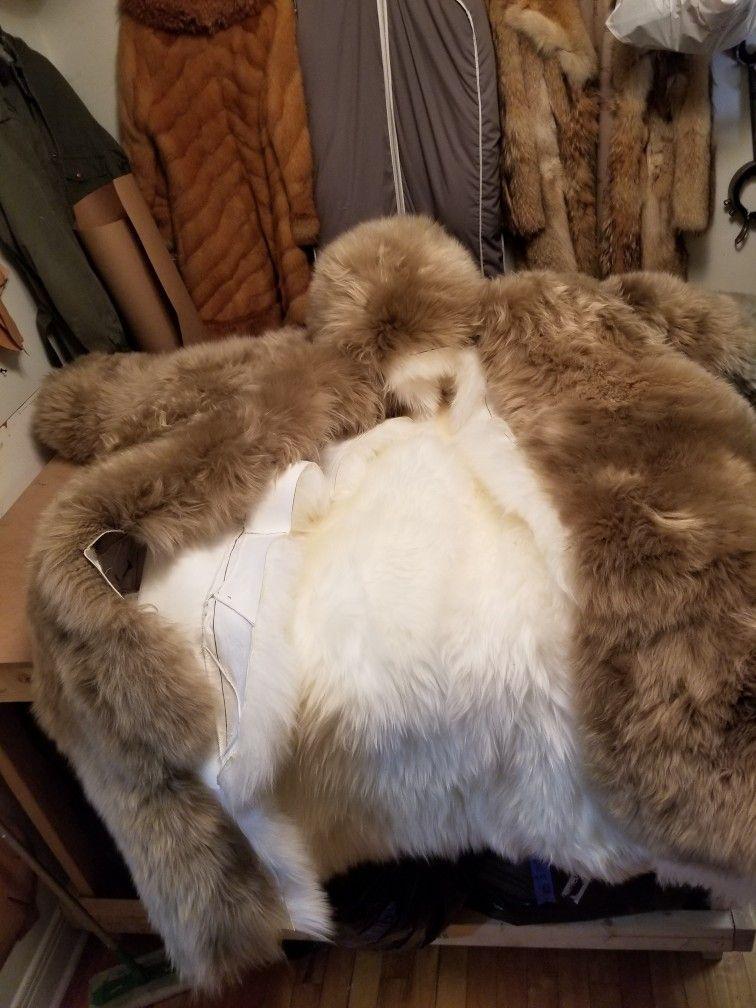 Assembling 2 Parts Fur Coat Fur Fur Blanket