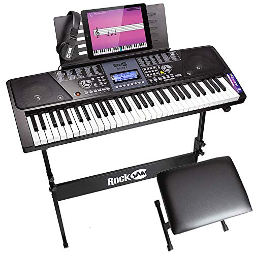 Full Size Keyboard A True Full Size 61 Key Keyboard Piano With Standard Key Sizes Features Lcd Screen Rec Digital Piano Keyboard Digital Piano Keyboard Piano