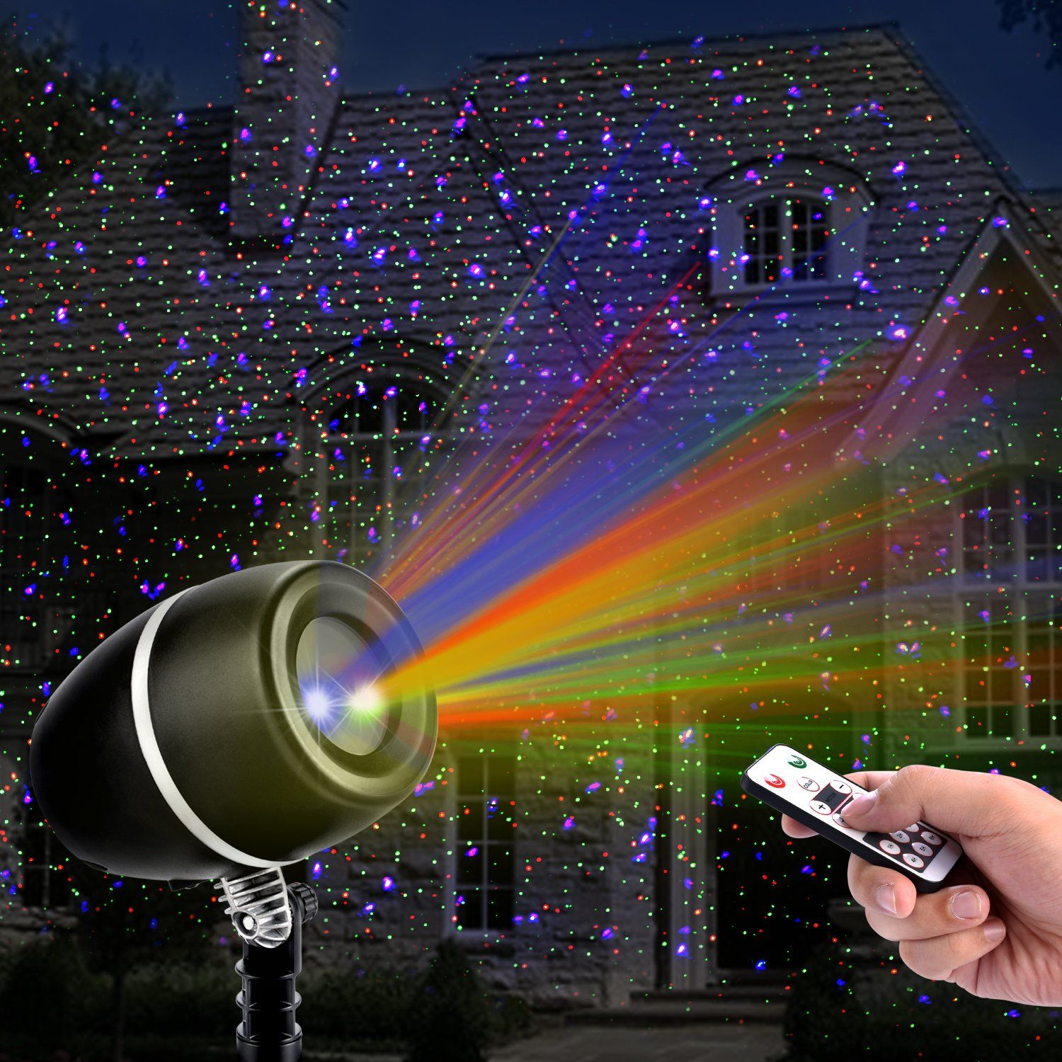christmas laser lightsoutdoor projector lights with remote control by clustars ip65 waterproofred green and blue laser light show garden spotlight for