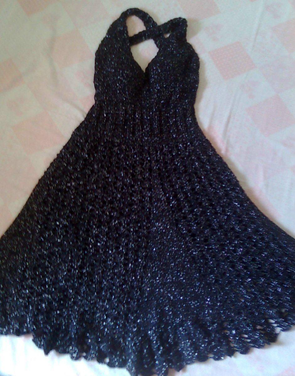 Vestido azul marinho de crochet