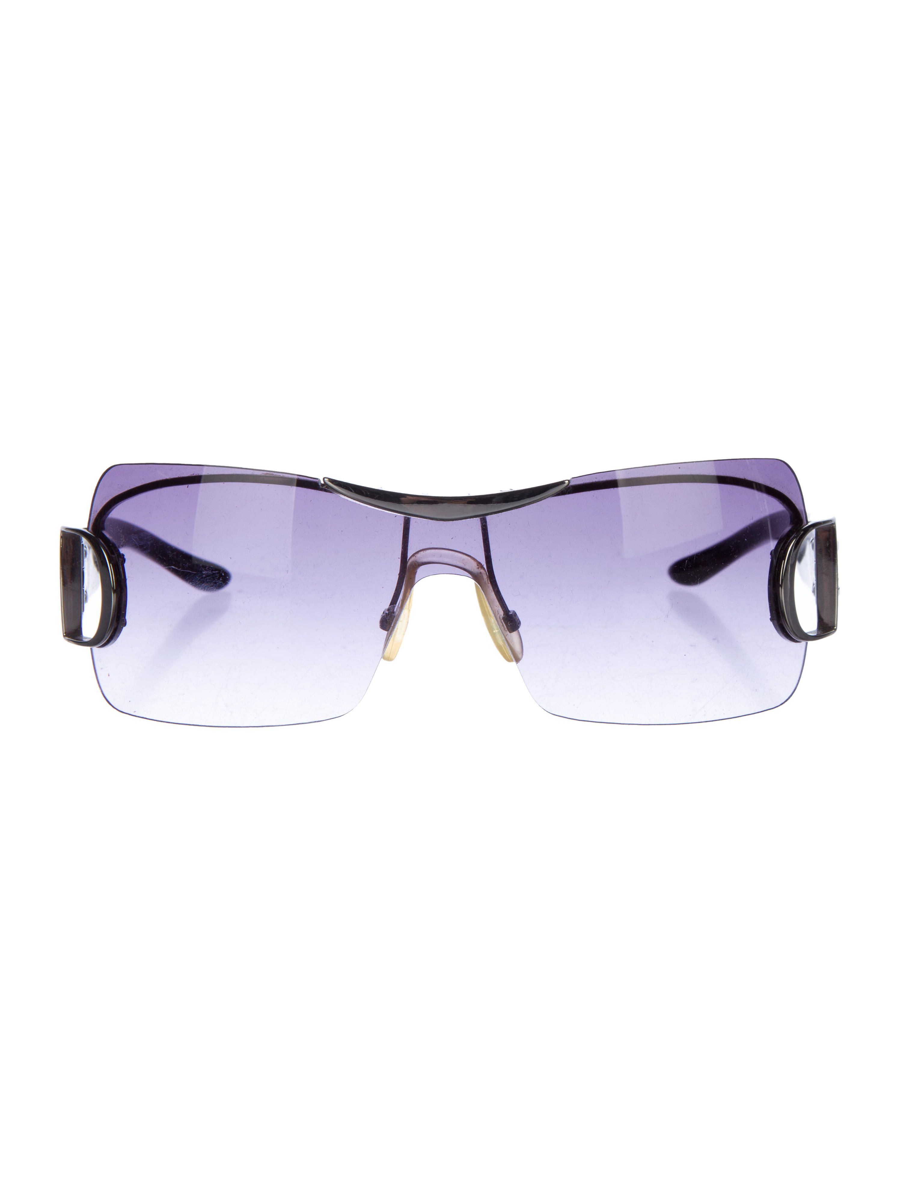 301bf79492 Gunmetal Christian Dior rimless shield sunglasses with purple gradient  lenses