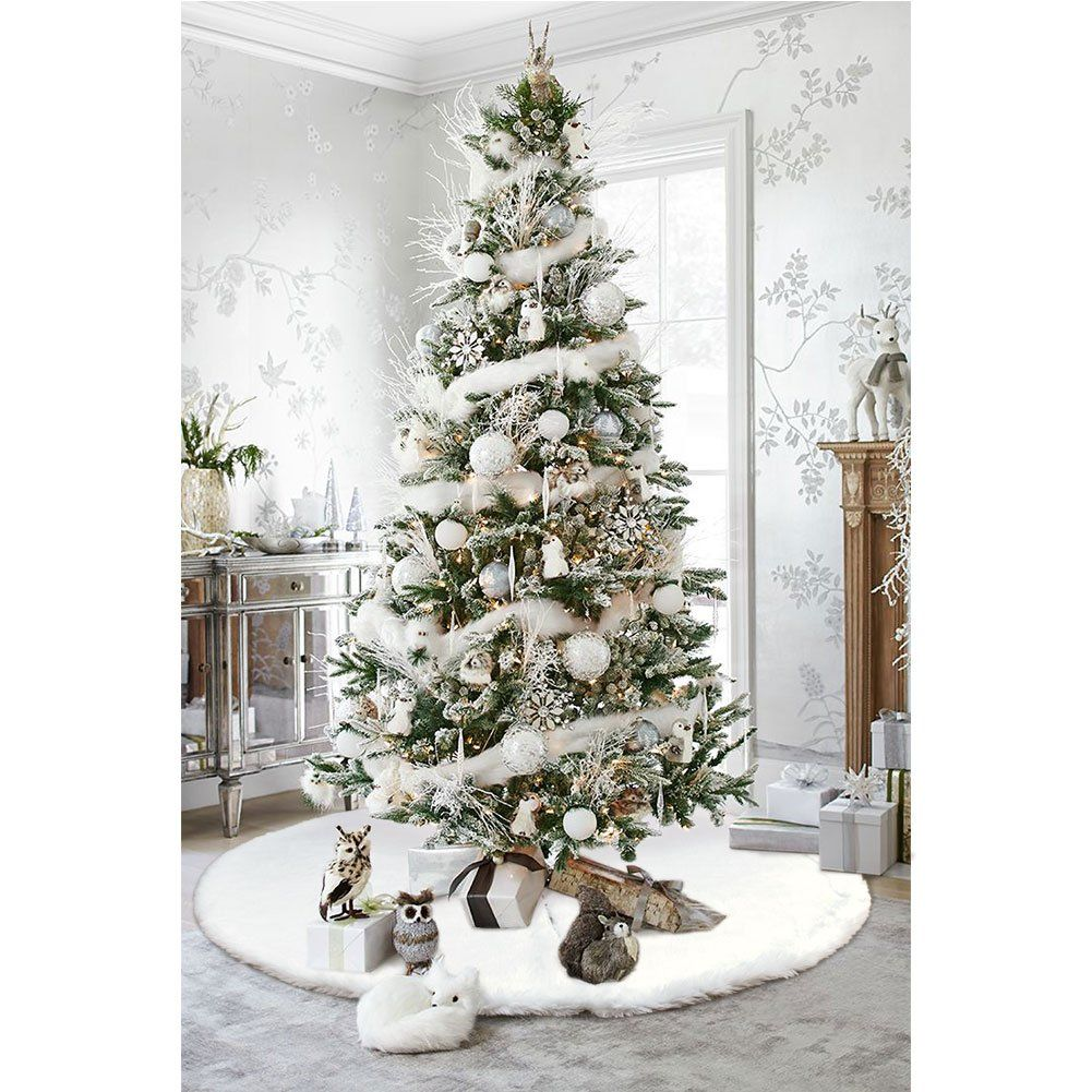 Faux Fur Christmas Tree Skirt 61 inch Snowy White Tree Skirt for Christmas Decorations