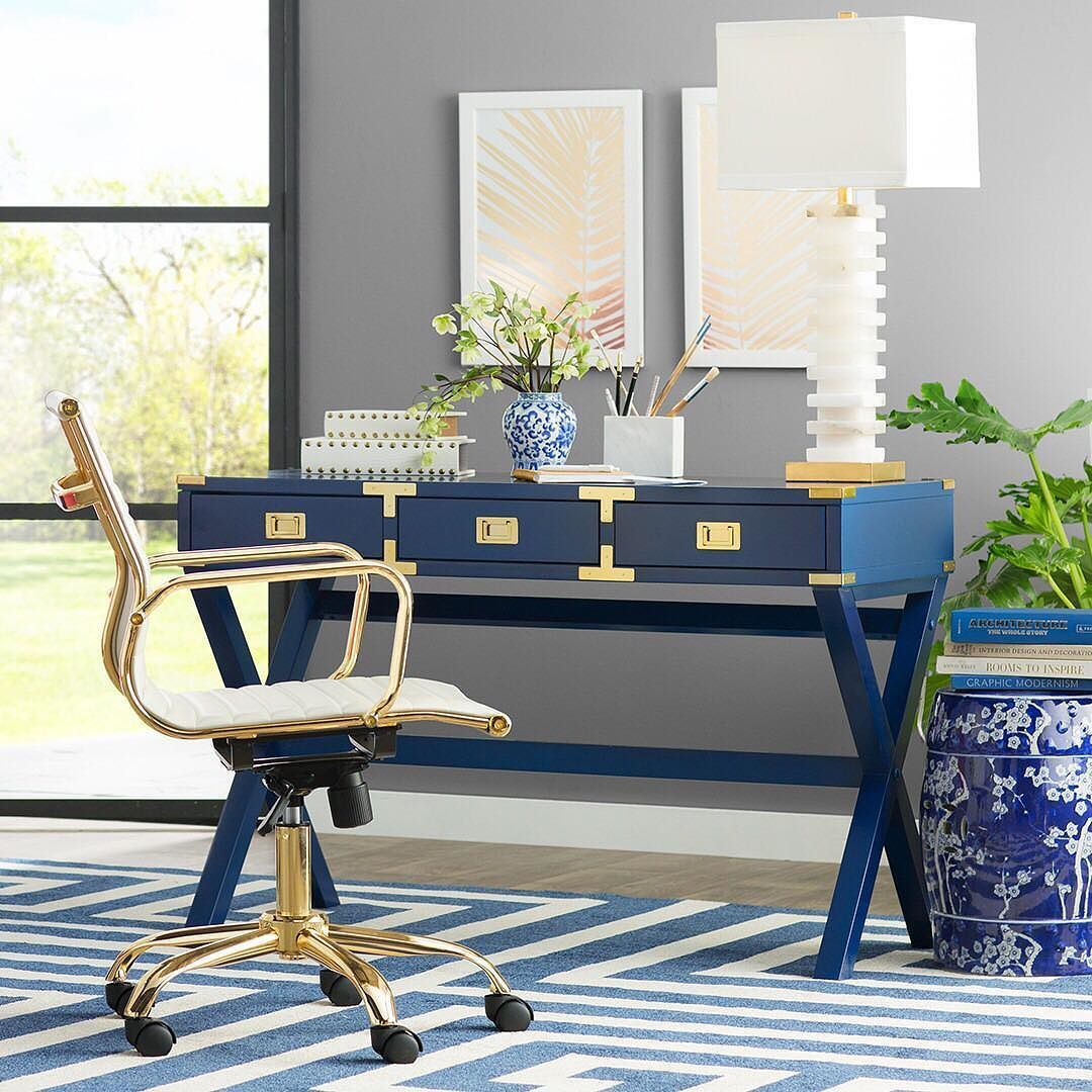 office the shop. Make Your Home Office The Corner With Navy Furniture And Gilded Accents. #homeoffice #navy #gold {shop Link In Profile} Shop