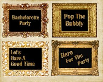 Bachelorette Party Wall Art Black Gold Glitter Four Prints Decorations DIY