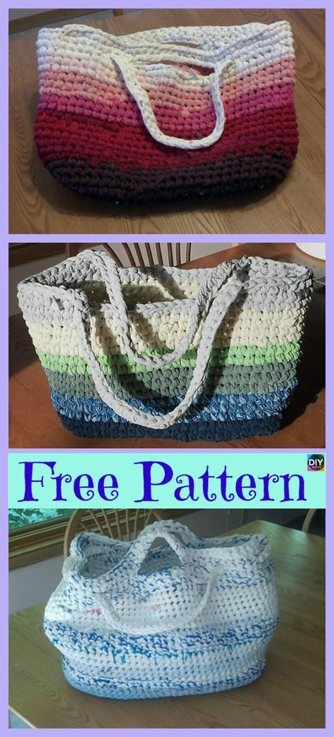 Crochet Chunky T-Shirt Tote - Free Patterns | a knitting | Pinterest ...