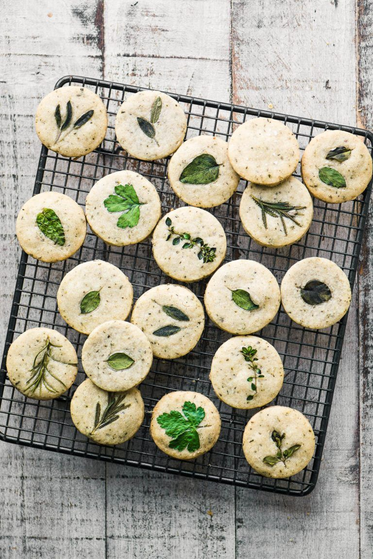 Savory Herb Shortbread Crackers On A Cooling Rack Savory Herb Savoury Baking Recipes