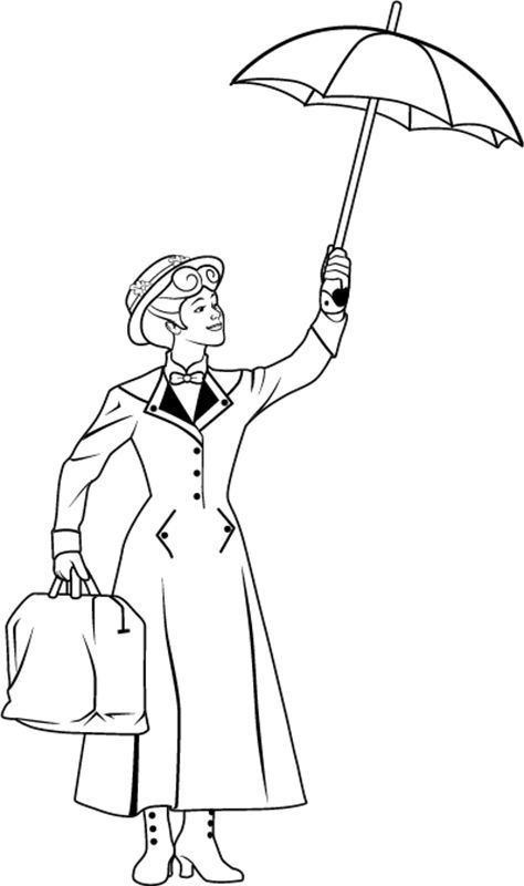Mary Poppins Coloring Page Umbrella Coloring Page Disney
