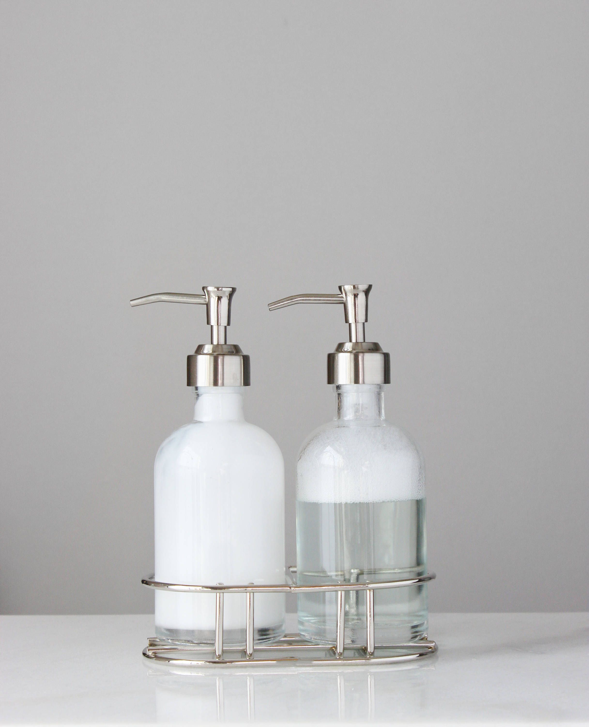 Glass Soap Dispenser Set With Metal Pump Chrome Silver Etsy Glass Soap Dispenser Soap Dispenser Metal Caddy