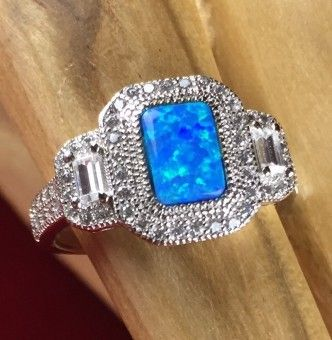 Exotic 925 Sterling Silver Abalone White Topaz Ring | Size 7 or 8 Only