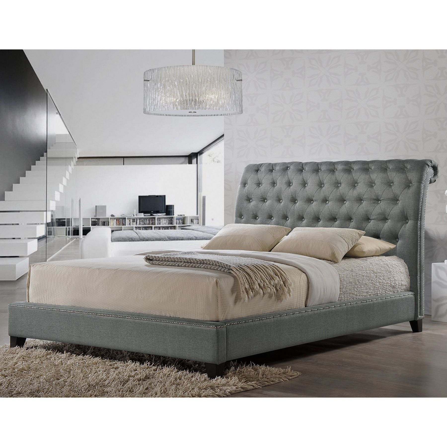 jazmin tufted gray modern bed with upholstered headboard by baxton  - our jazmin designer bed shines with fabulous features a scroll back queensizedheadboard