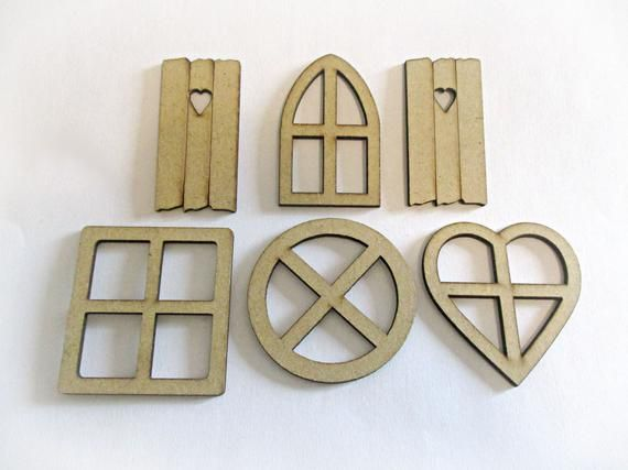 Fairy House Windows | Miniature Window Frames | Fairy Garden Supplies | Dollhouse Accessories | Round Square Heart Arched Windows | Shutters #dollhouseaccessories