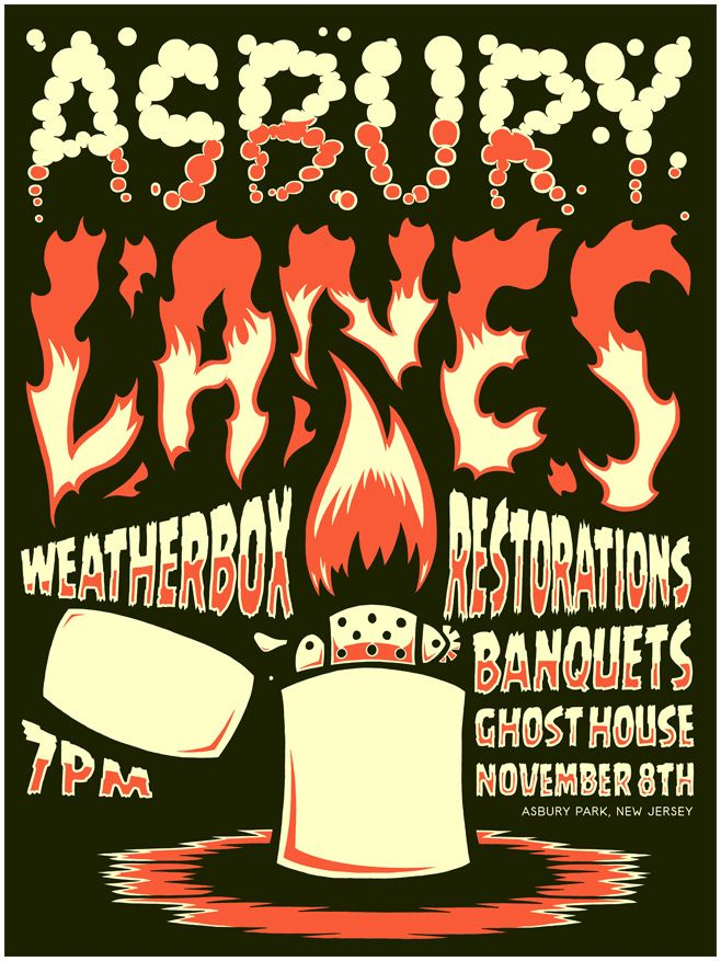 Asbury Lanes Gig Poster  by Dying Breed Illustration