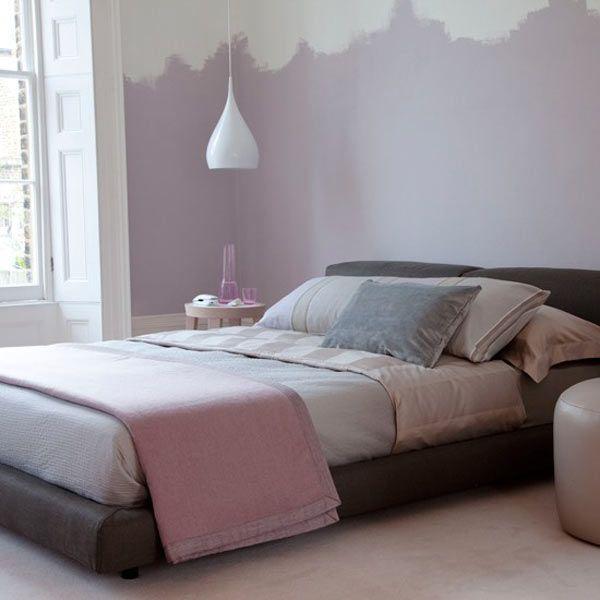 Pale blue walls in bedroom, white crown molding Bedroom
