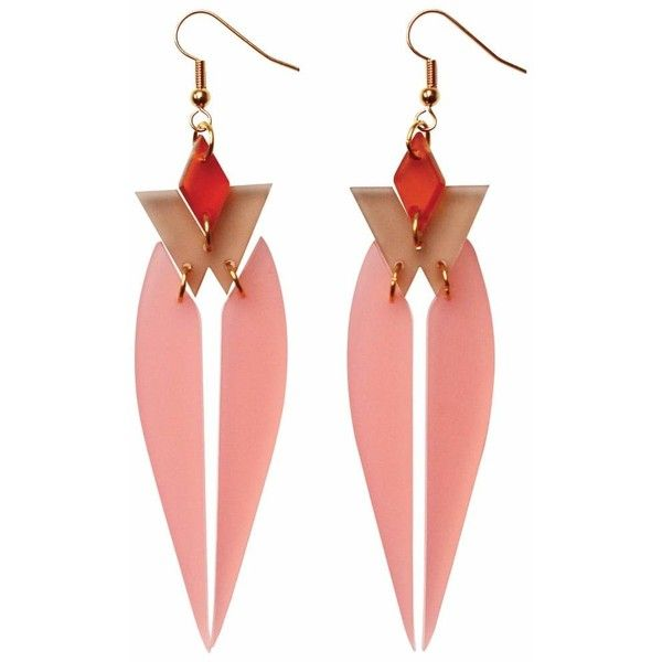 Toolally - HRH Blush Pink (59 AUD) ❤ liked on Polyvore featuring jewelry, earrings, pink earrings, tools jewellery, vintage style earrings, tools jewelry and statement earrings