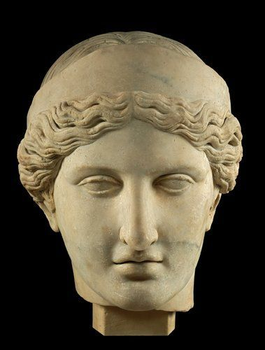 Head of marble figure of Hera. Roman period, AD 30–180, from Agrigento, Sicily