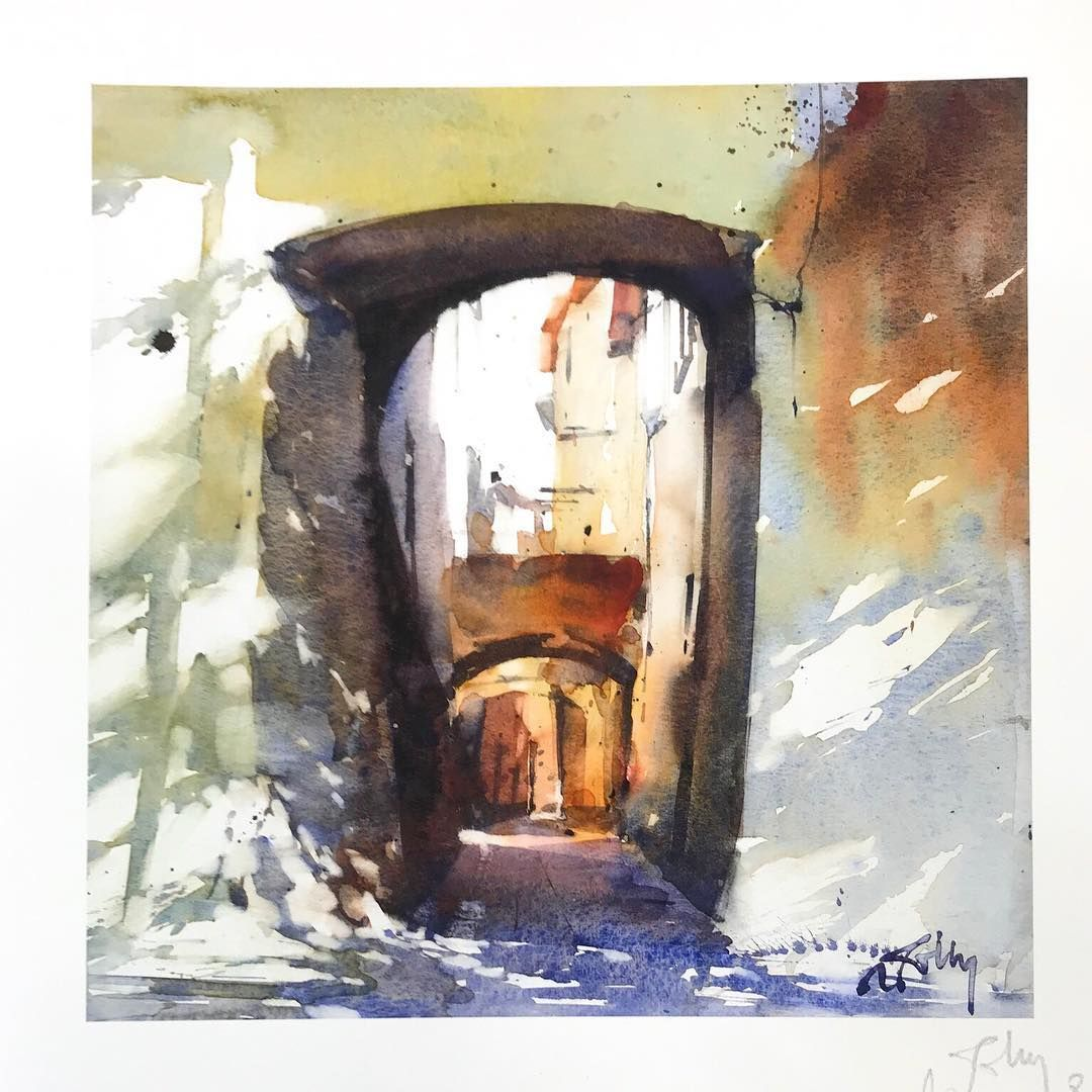 Marc Folly Watercolor Artist On Instagram Village Entrance