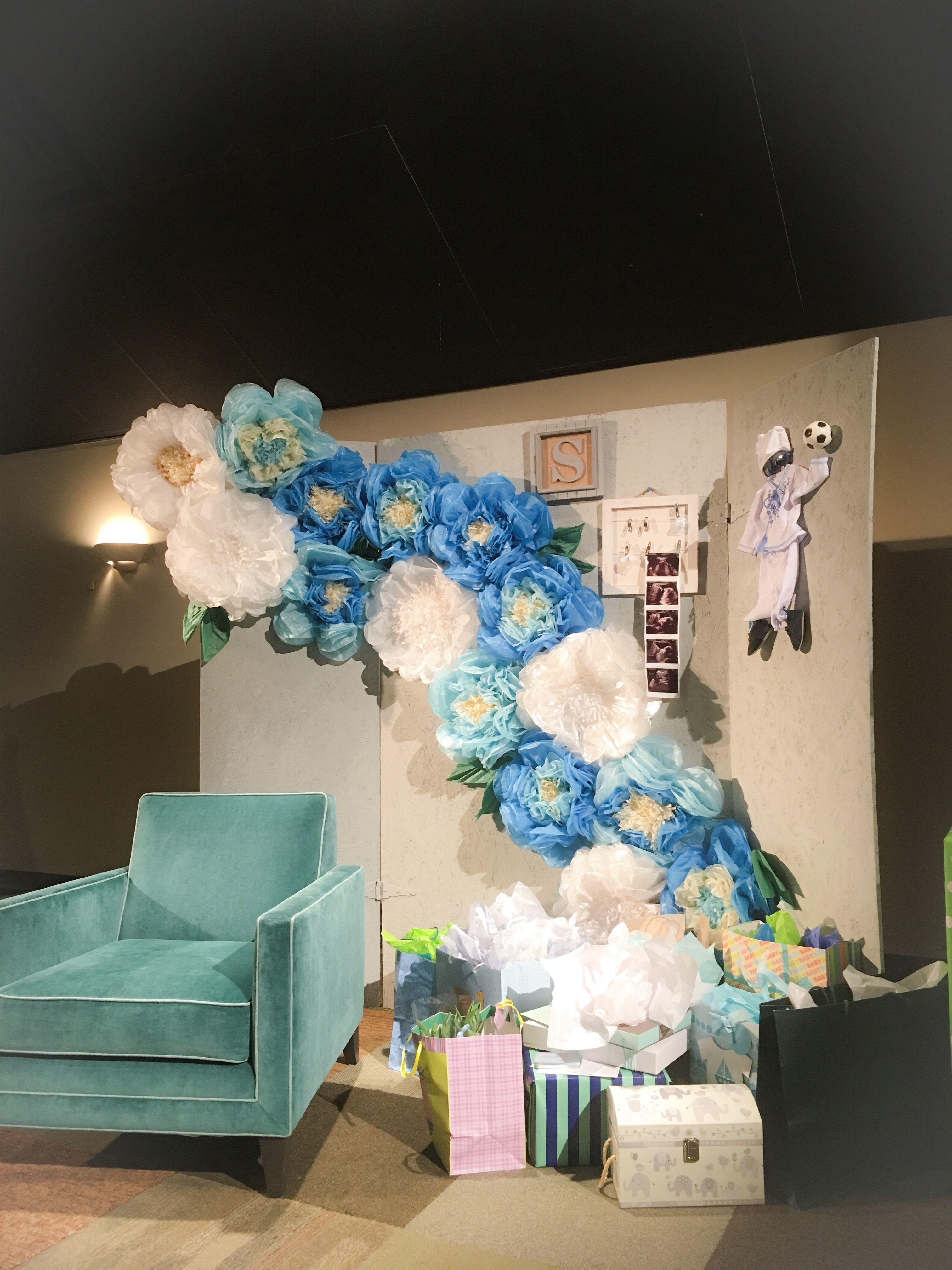 Baby Shower Decorations Decor Blue Itu0027s A Boy Gray Backdrop Plywood  Backdrop Event Decor Tissue Paper