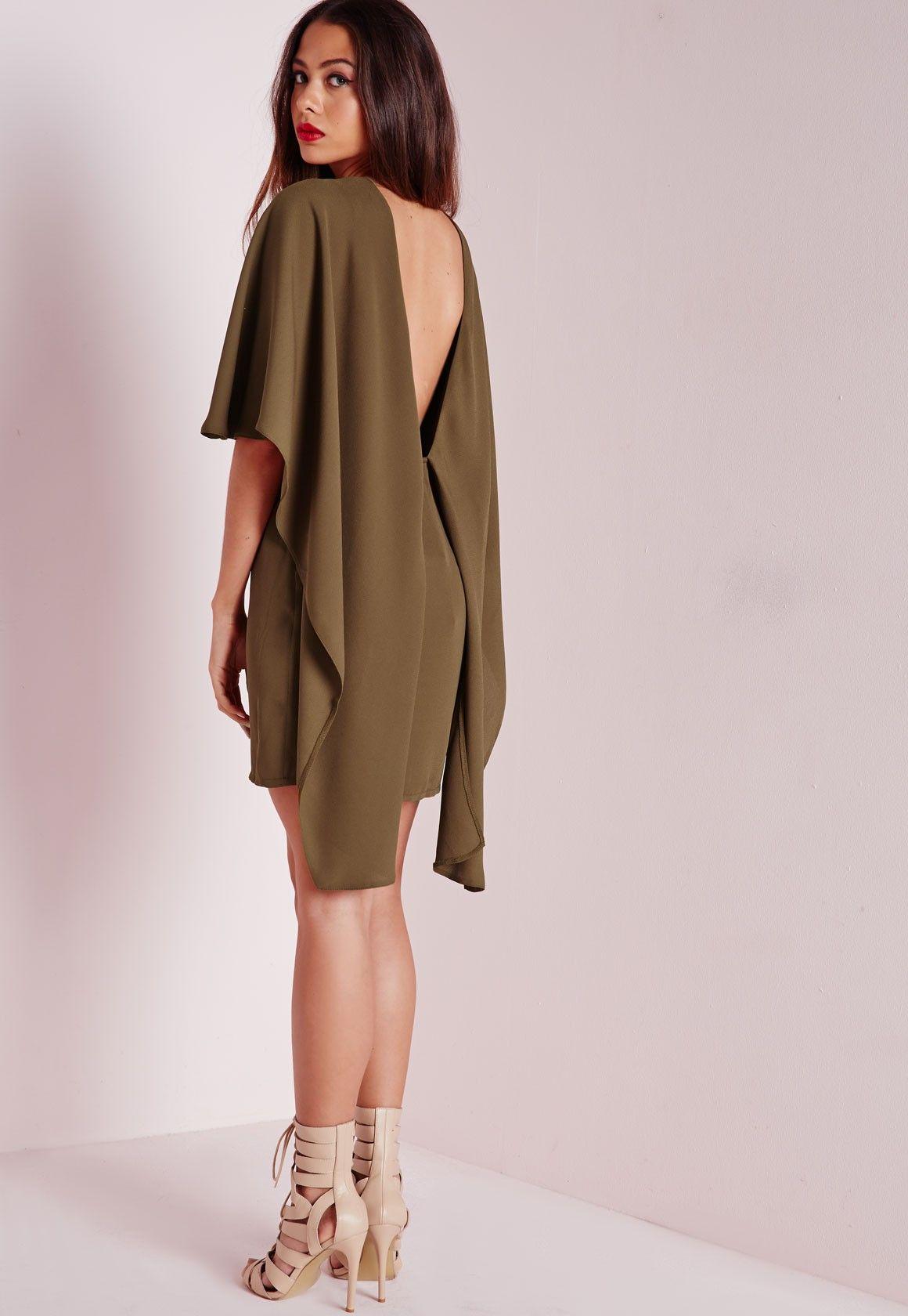 Missguided - Robe moulante effet cape en crêpe vert kaki