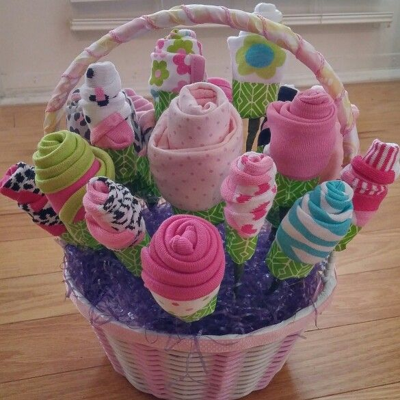 Baby Shower Bouquet Made From Onesies Bibs Hats And Socks Baby
