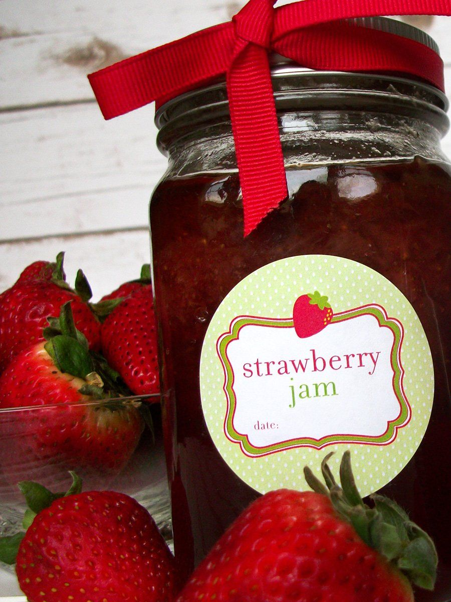 Cute strawberry jam canning labels canning jar labels