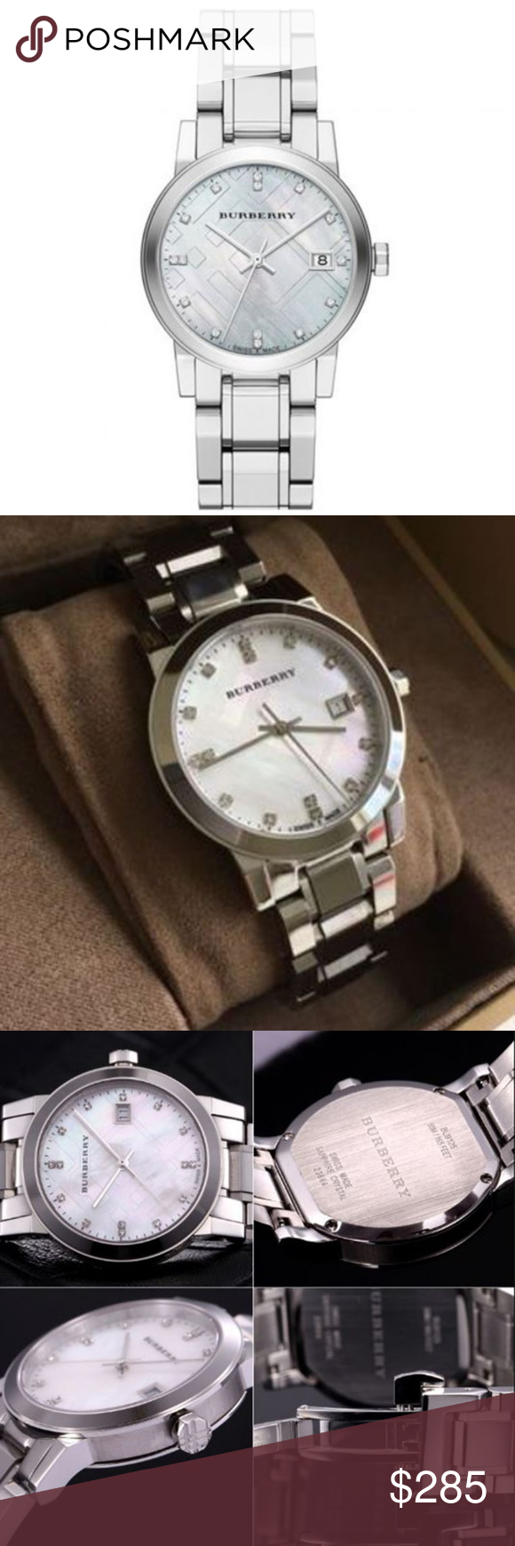 8acf3b08e9f2 New Burberry Diamond Accent Ladies BU9125 Watch New Burberry Diamond Accent Stainless  Steel Ladies Watch BU9125 Brand New 100% Authentic Watch Information ...