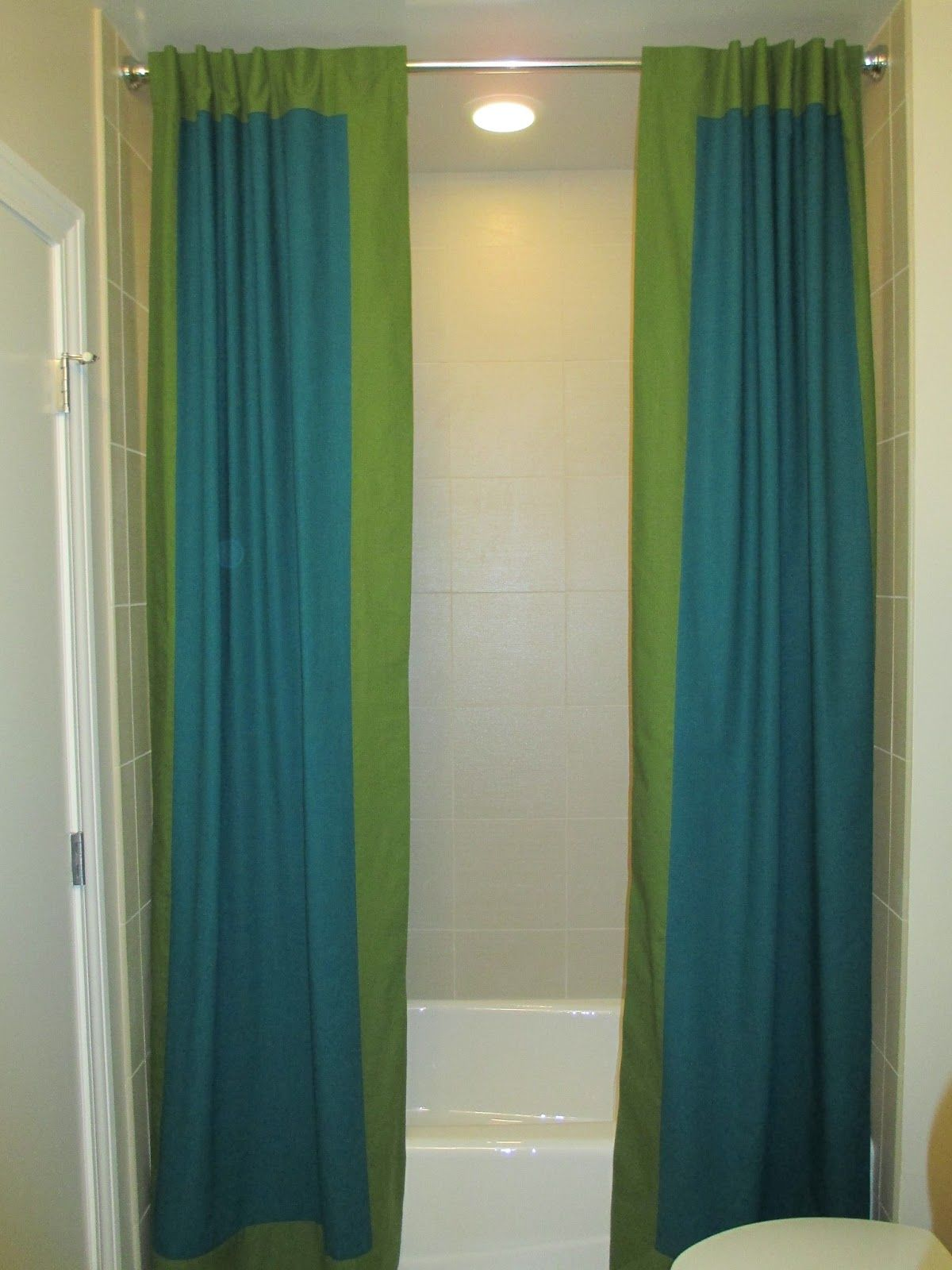 Split shower curtain ideas - Diy Sewing Custom Split Shower Curtain Drapes Yourself