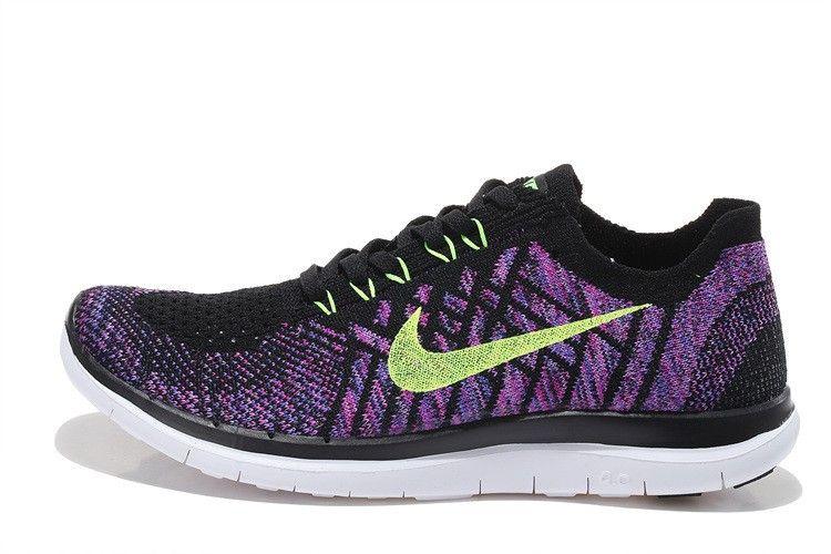 096908d041f6 ... australia womens nike free 4.0 flyknit running shoes black purple  717076 003 e07ab 69be6