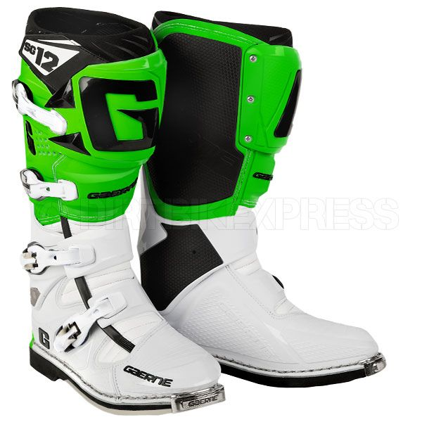 Gaerne Sg12 Boots White Green Dirt Bikes And Armour Stuff