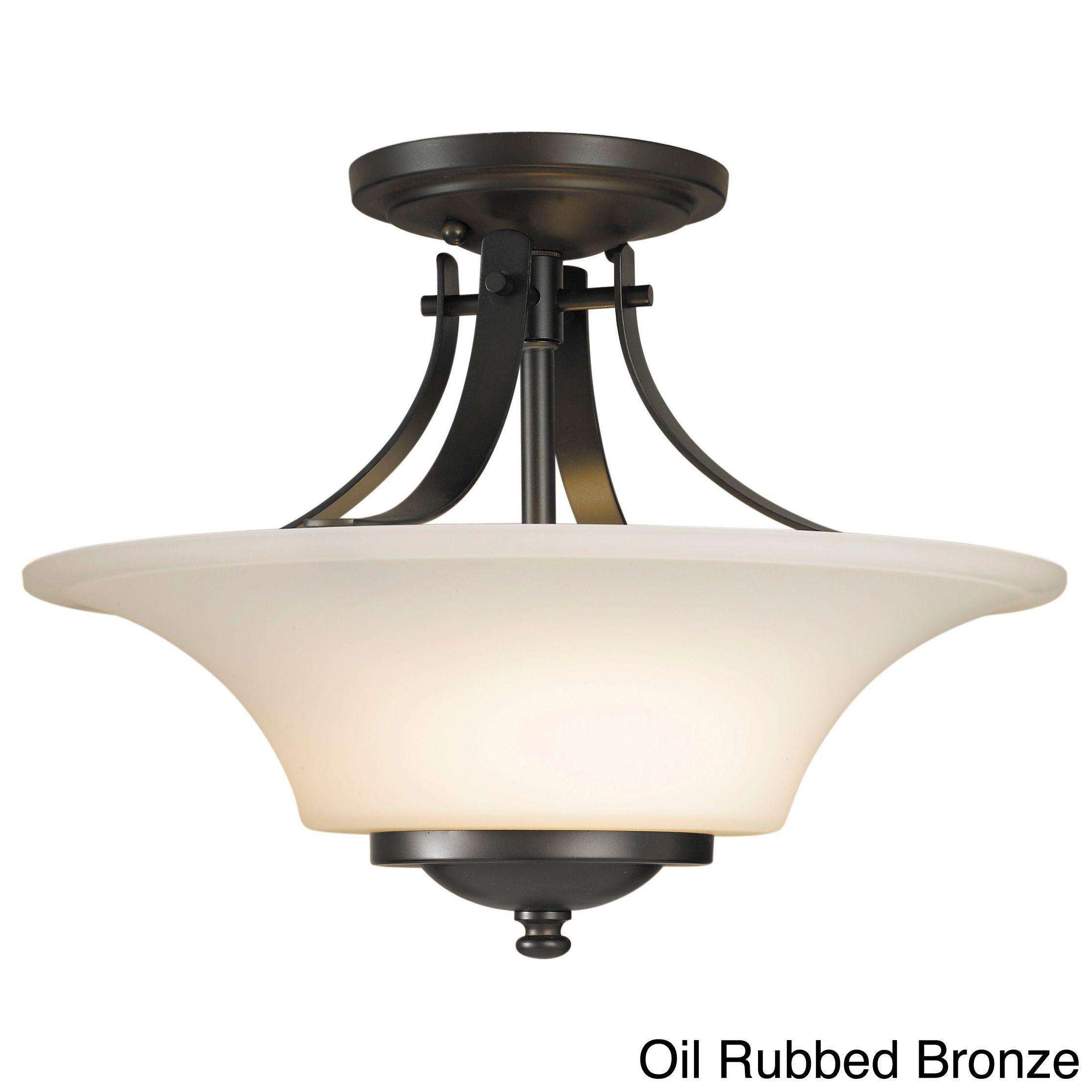 Feiss barrington 2 light indoor semi flush mount brushed steel